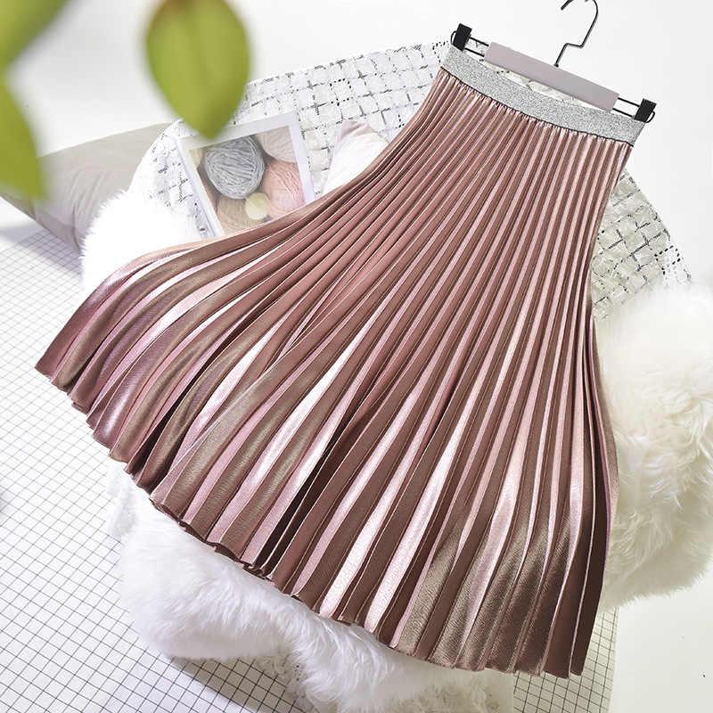 2019 Весенняя женская элегантная плиссированная юбка, эластичная высокая талия, Женская длинная юбка, Женская Осенняя юбка миди высокого качества, Saia