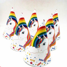 6pcs Happy Birthday Party Supplies Adult Rainbow Unicorn Paper Hats Baby Shower/Children's Day Disposable Tableware Decorations(China)