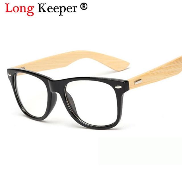d8807be3f11e25 Longue Gardien 2018 Rétro Bambou Lunettes Hommes Femmes Lunettes Bois  Montures de lunettes de Temple En