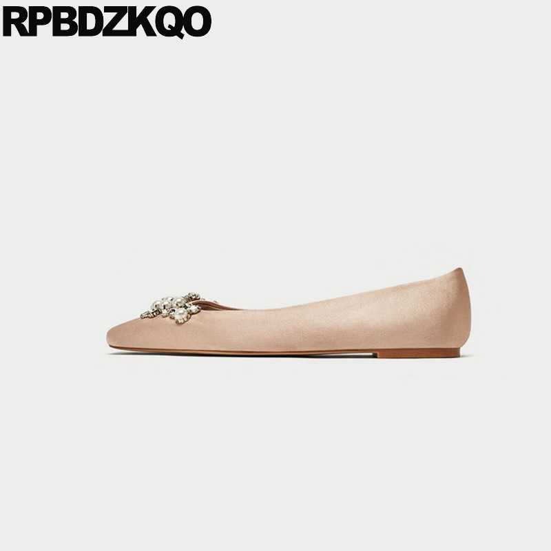 Silk Sparkling Party Satin Pink Large Size Flats Pearl Nude Crystal Women  Wedding Ballet Shoes Dress d646794d1e7b