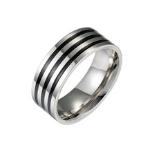 Simple fashion men's black ring stainless steel classic three black ring jewelry men's jewelry(China)