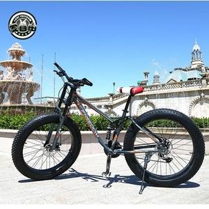 Image 1 - Aşk özgürlük yüksek kaliteli bisiklet 21/24 hız dağ bisikleti 26 inç 4.0 yağ lastik kar bisikleti çift diskli şok emici bisiklet