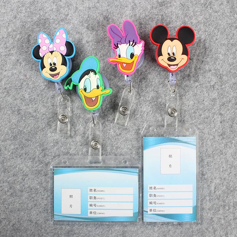 Cartoon Mouse Transparent Badge Scroll Nurse Reel Cute Character Scalable Cute Duck Nurse Exhibition ID Plastic Card Holder