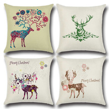 Скандинавском стиле хлопок/Белье Обратно Подушка с Рождество серии Moose печати узор творческая личность Home Bed украшение