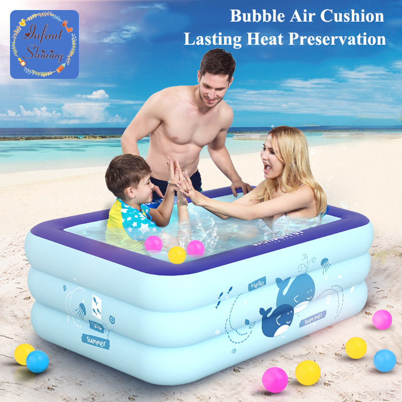 Infantile piscine gonflable de PVC Brillant 1.2 M Piscine Enfants Cartton Motif Indépendant Superposition Isolation Piscine