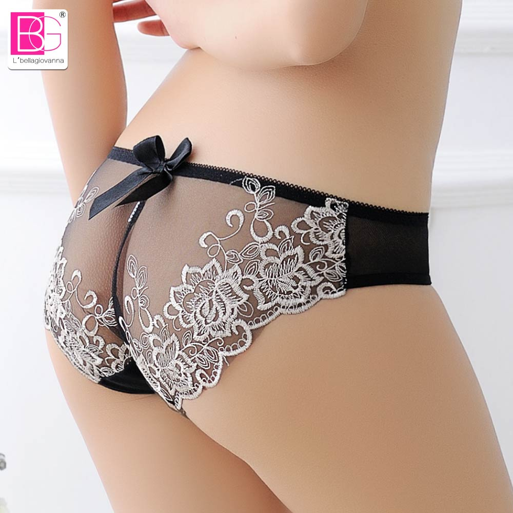Lbellagiovanna Sexy Girls Underwear Panties Mesh Floral Lace Briefs Transparent Seamless Lolita Young Women Lingerie Bow