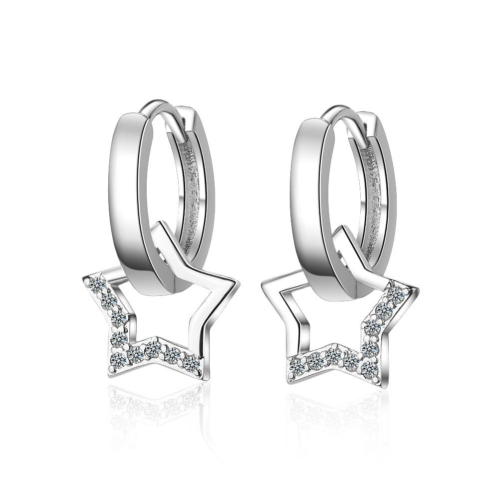 XIYENIKE 925 Sterling Silver  Zircon Star Jewelry Round Shape Cute Trendy Style Earrings For Women Girlfriend  Wedding Banquet 1