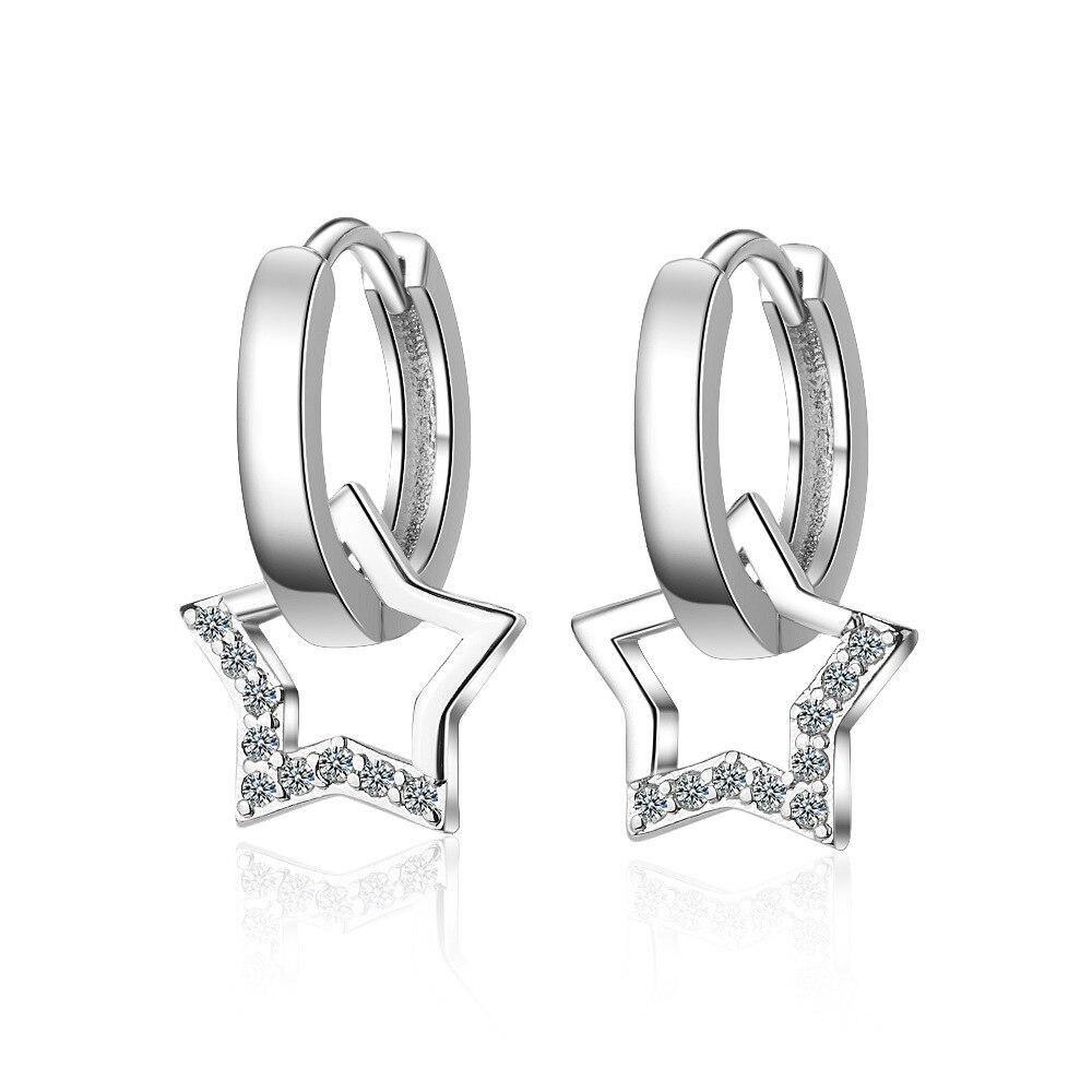 XIYENIKE 925 Sterling Silver  Zircon Star Jewelry Round Shape Cute Trendy Style Earrings For Women Girlfriend  Wedding Banquet