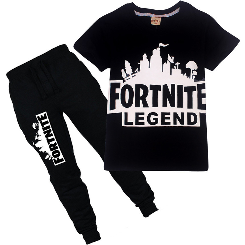 8 10 12 Year Fortnite Boys Clothes 2018 Summer groot Printed Kids t shirt+Shorts Suits Casual Cotton baby Children Clothing Set children clothing set for boys letter t shirt plaid pants baby clothes boys fashion sports suits cotton casual kids clothes