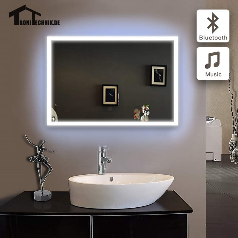 1pc 60x80cm bath mirror in bathroom bluetooth illuminated for Mirror 60 x 80