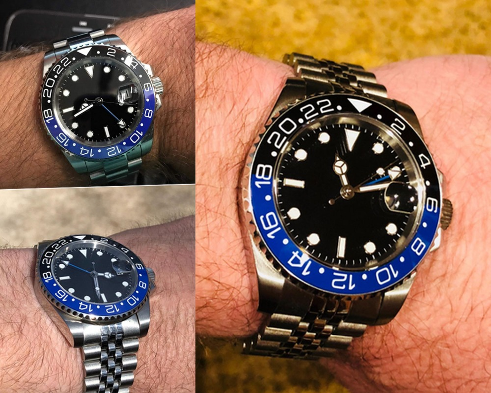 Sapphire Crystal BLIGER 43MM Black Sterile Dial Blue Black Ceramic Bezel GMT Function Luminous Automatic Movement Mens WatchSapphire Crystal BLIGER 43MM Black Sterile Dial Blue Black Ceramic Bezel GMT Function Luminous Automatic Movement Mens Watch