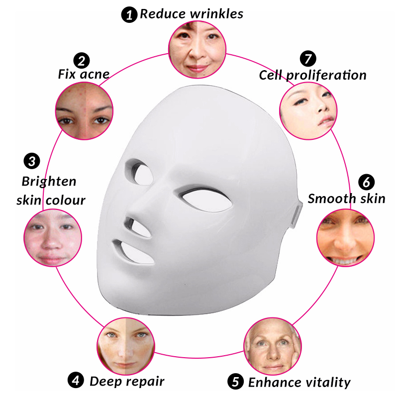 все цены на Korean Skin Rejuvenation Anti Acne Wrinkle Removal 7 Color LED Photon Beauty Mask Led Light Therapy Massage Facial Care Machine онлайн