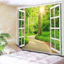 купить Starry Sunshine Green Forest Tapestry Girlish Plant Wall Hanging Cloth Wall Art Carpet Tapesties Living Room Decora 150x200cm по цене 325 рублей