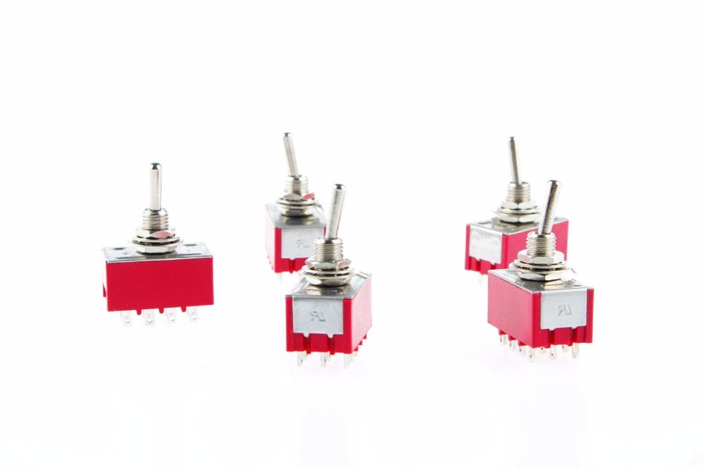 10pcs Toggle switch MTS-402 Red On-On 2 Position 4PDT AC 250V/2A 120V/5A image