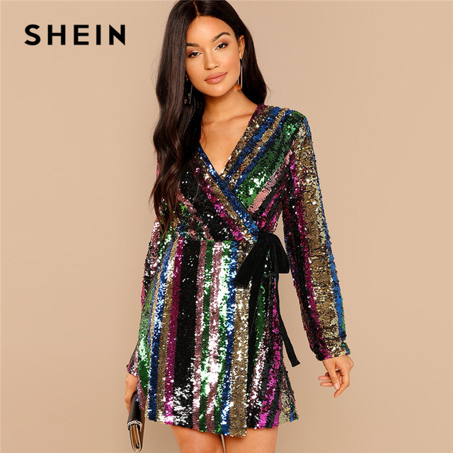 02774750ac SHEIN Multicolor Party Highstreet Color Block Sequin Wrap Natural Waist  Long Sleeve Dress 2018 Autumn Fashion