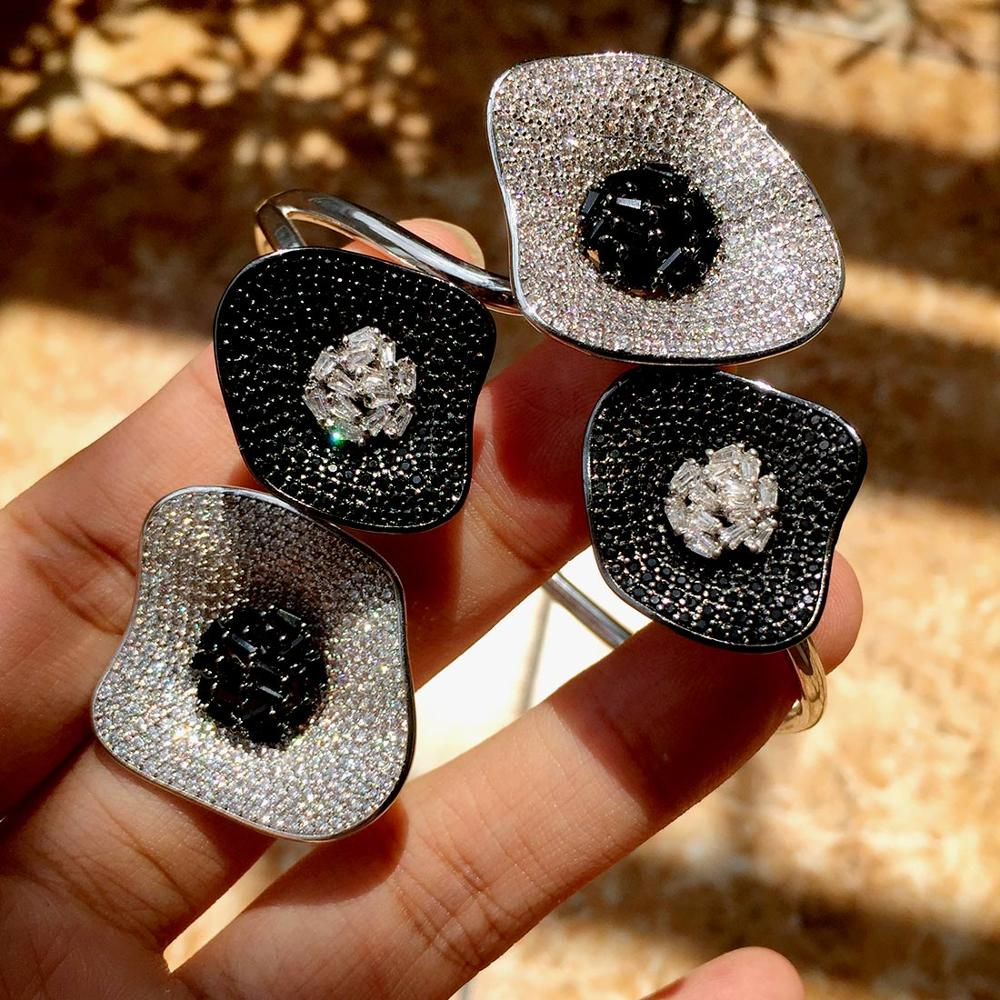 Newness Luxury Lotus Leaf Cubic Zirconia Pave Women Wedding Naija Dubai Party Engagement Dress Bangle Ring Sets