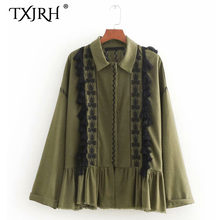 945f15291c23f9 TXJRH Fashion Ethnic Floral Print Embroidery Tassel Fringed Ball Army Green  Shirt Long Sleeve Turn-down Collar Blouse Women Tops