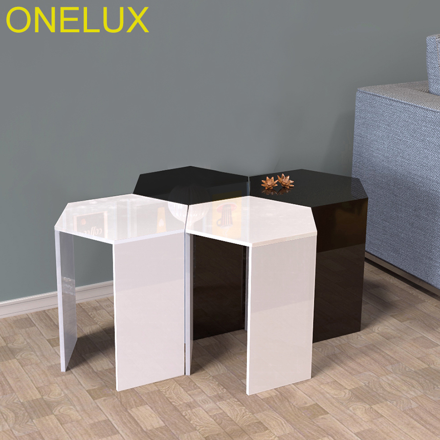 (2PCS/LOT) Hexagon Acrylic Sofa Table,Lucite Occasional Small Tea Tables