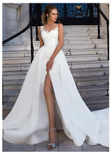 SoDigne Lorie Wedding Dresses Lace Applique Sleeveless Illusion Beach dress Bridal Gowns vestidos de novia
