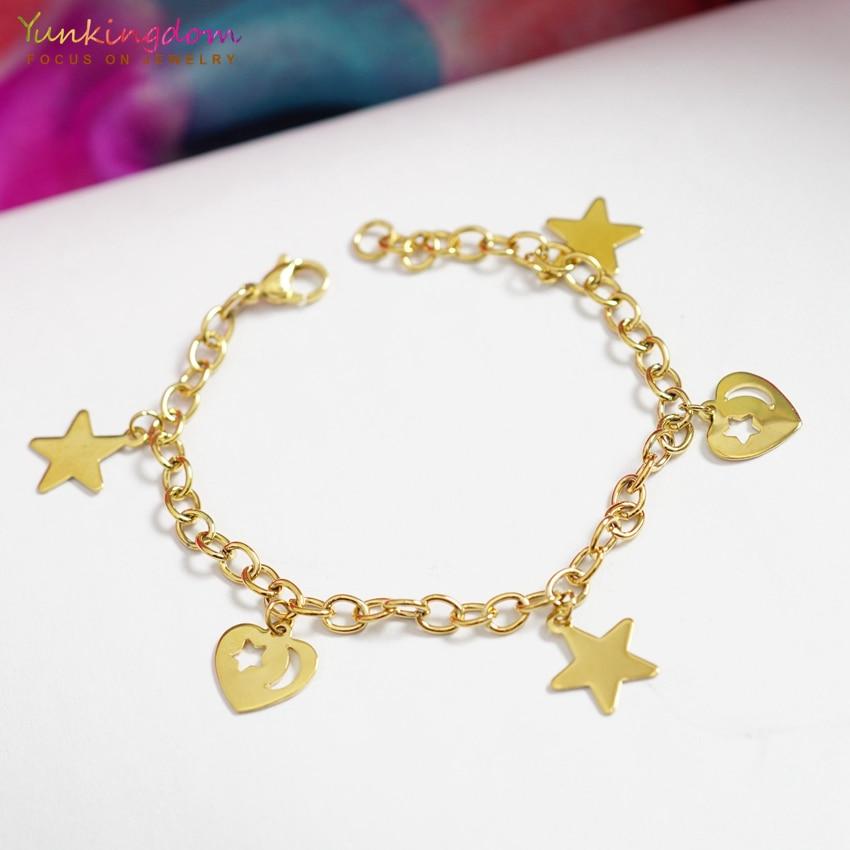 Yunkingdom золото-цвет ссылка & цепи браслеты для женщин сердце и звезда замечательный браслеты, браслет из нержавеющей стали UE0219