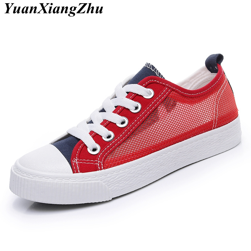 Summer Mixed Colors Flat Women Shoes 2018 Fashion Air mesh Breathable Casual Ladies Shoes Brand Lace Non-Slip Women Canvas Shoes new women shoes breathable fashion ladies flats non slip summer wedges shoes for women aa10218