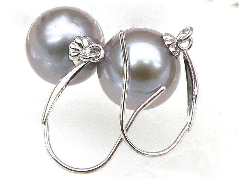 Genuine AAA+++ 8mm silver gray akoya pearl dangle earring 14k solid white goldGenuine AAA+++ 8mm silver gray akoya pearl dangle earring 14k solid white gold
