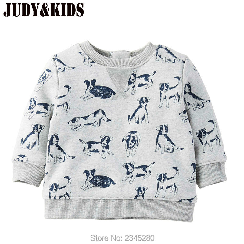 T Shirts For Baby Boys T-shirts Clothes Sweater Child Tops Long Sleeve Dog Print Children Tees Clothes Tops Clothing 2017 New