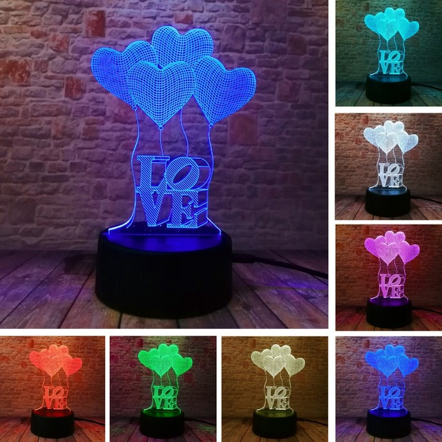 3D LED Hologram – Romantické nočné svetlo – LOVE Heart – Princess – Unicorn – Ferris Wheel – Rose