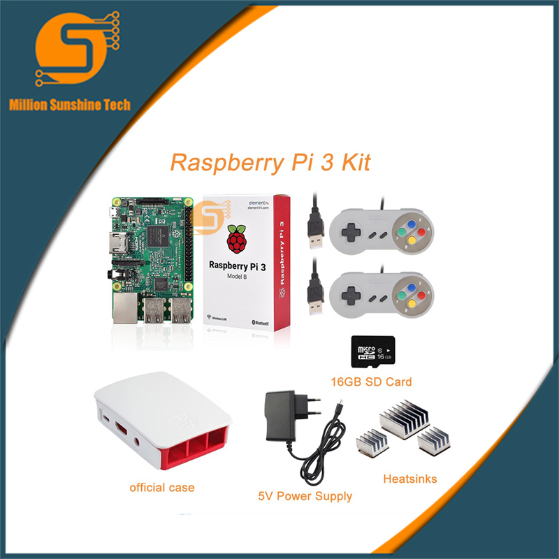 Raspberry pi 3 + Heat sink+ABS Case Box+5V 2.5A power supply+Game handle+16G SD+Heat sink for Raspberry pi 3 B free shipping free shipping pure nature raspberry extract raspberry ketones powder 500mg x 100caps