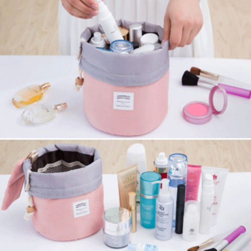 Women Portable Practical Foldable Makeup Drawstring Pouch Bucket Barrel Shaped Popular Outdoor Travel Cosmetic Bag Case HOT