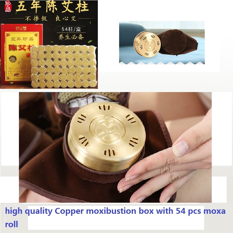 high quality Pure Copper moxibustion box with 54 pcs moxa roll moxibustion set acupuncture massage Cervical back moxibustion eye and facial massage 7mm diameter copper moxibustion rod beauty spa with 10 pcs moxa stick acupuncture map