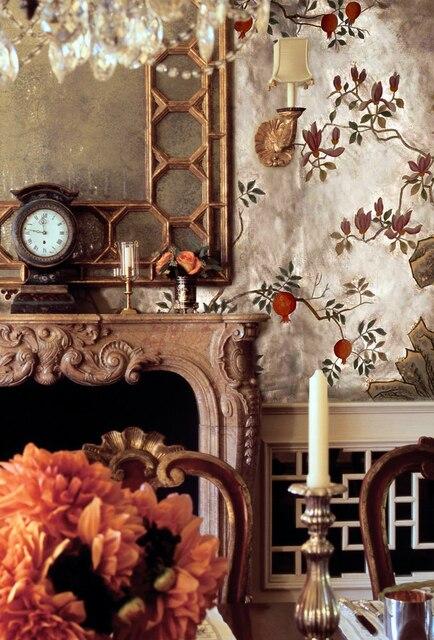 Luxuriöse Hand Bemalt Silber Goldfolie Tapeten Malerei Blumen Mit Vögel Und  Obst Viele Muster Und Hintergrund