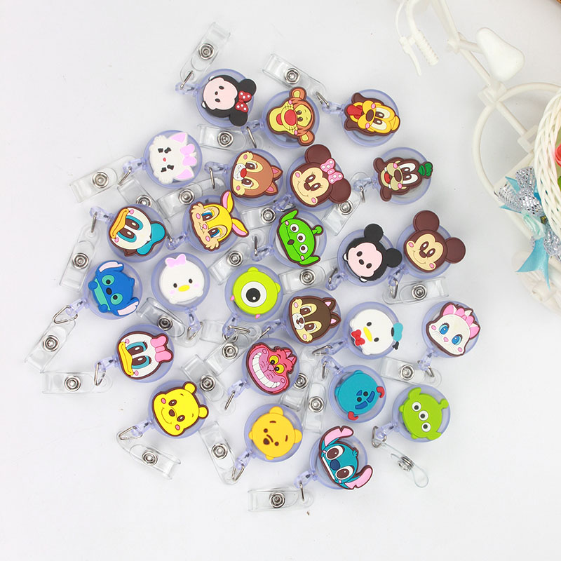 50pcs/lot Cute Cartoon Character Design Nurse Retractable Badge Reel Pull ID Card Badge Holder Belt Clip Hospital School Office