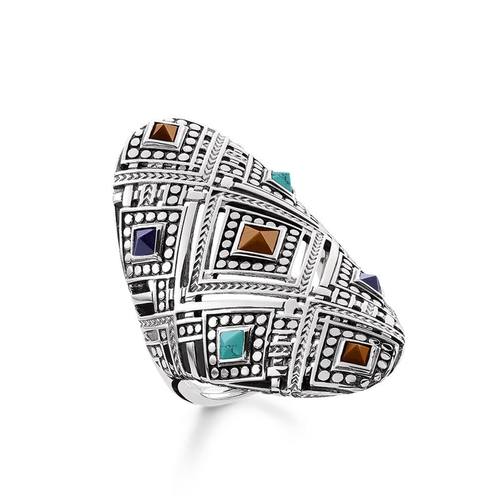 Africa Ornament Colorful 925 Sterling Silver Cocktail Big