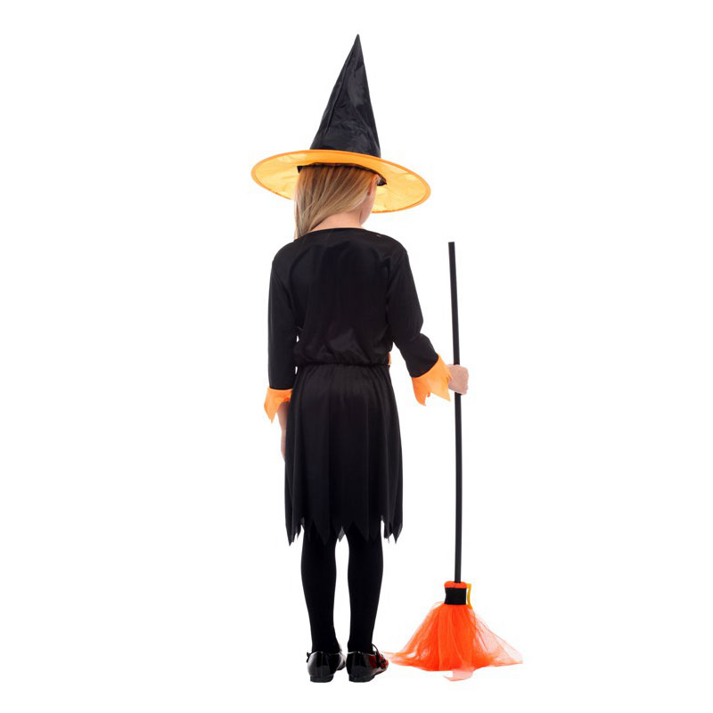 Lovely Orange Black Little Witch Girl Costume Cosplay for Girls Child Halloween Purim Carnival Party Mardi Gras Fancy Dress in Girls Costumes from Novelty Special Use