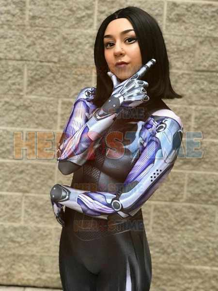Battle Angel Alita Cosplay Costume Black Outfit Printed Lycra Shirt Details about  /2019 Alita