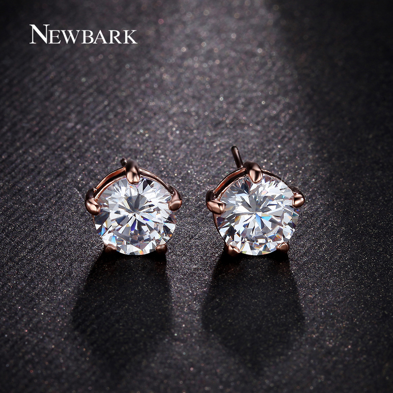 Aliexpress Newbark 5 G Round Cubic Zirconia Stud Earrings Silver Color Rose Gold 8mm Earring For Gilrs Gift Bijoux Femme From Reliable