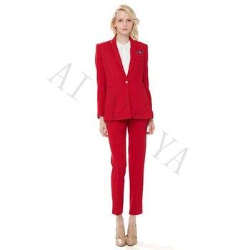 9808b0f12 Nueva chaqueta + Pantalones mujer traje de negocios rojo solo pecho Mujer  Oficina uniforme noche Formal señoras pantalones traje 2 piezas ...
