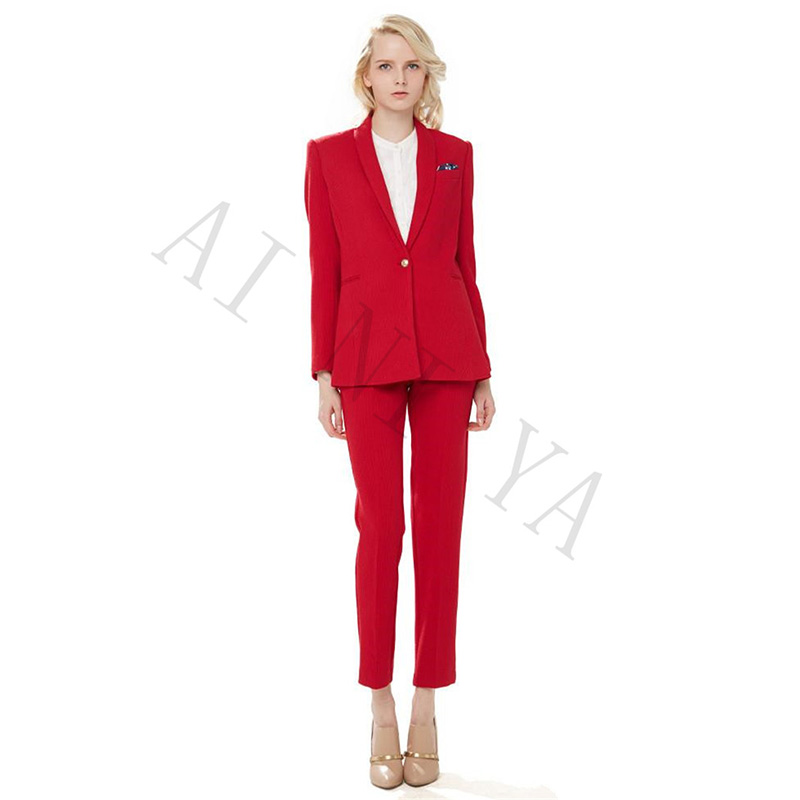new Jacket+Pants Women Business Suit Red Single Breasted Female Office Uniform Evening Formal Ladies Trouser Suit 2 Piece Cusotm