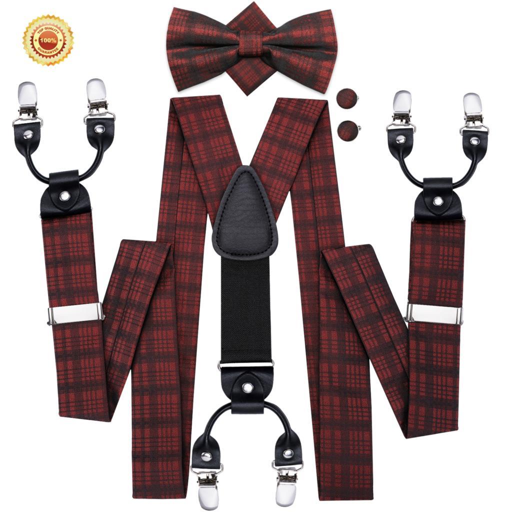 Men Suspenders Y-Shape Elastic Pack Belt Dark Red Silk Bowtie Cufflink Set Black Plaid Brace Strap For Suit Hi-Tie BD-3007