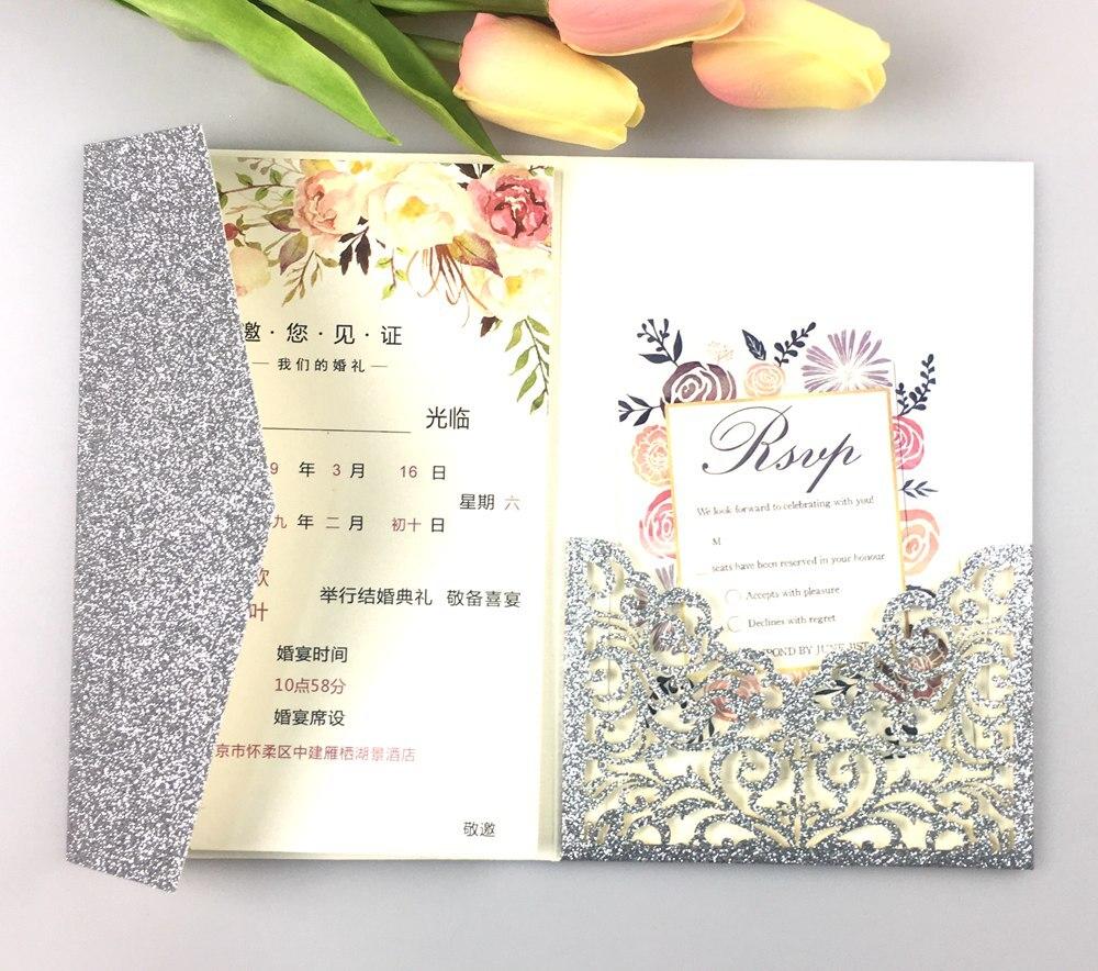 Navy And Peach Wedding Invitations: 1pcs Gray Gold Burgundy Peach Navy Blue Flower Tri Fold
