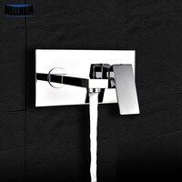 Di alta qualità fissato al muro del bacino rubinetto in ottone cromato piazza singola maniglia kitchen sink mixer con scatola incasso facile montaggio