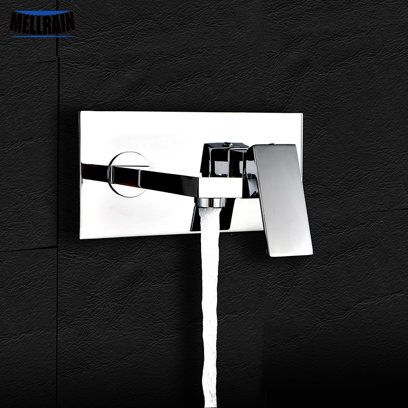 High quality wall mounted basin faucet brass chrome plated square single handle kitchen sink mixer with embedded box easy mount free shipping high quality chrome finished brass in wall bathroom basin faucet brief sink faucet bf019