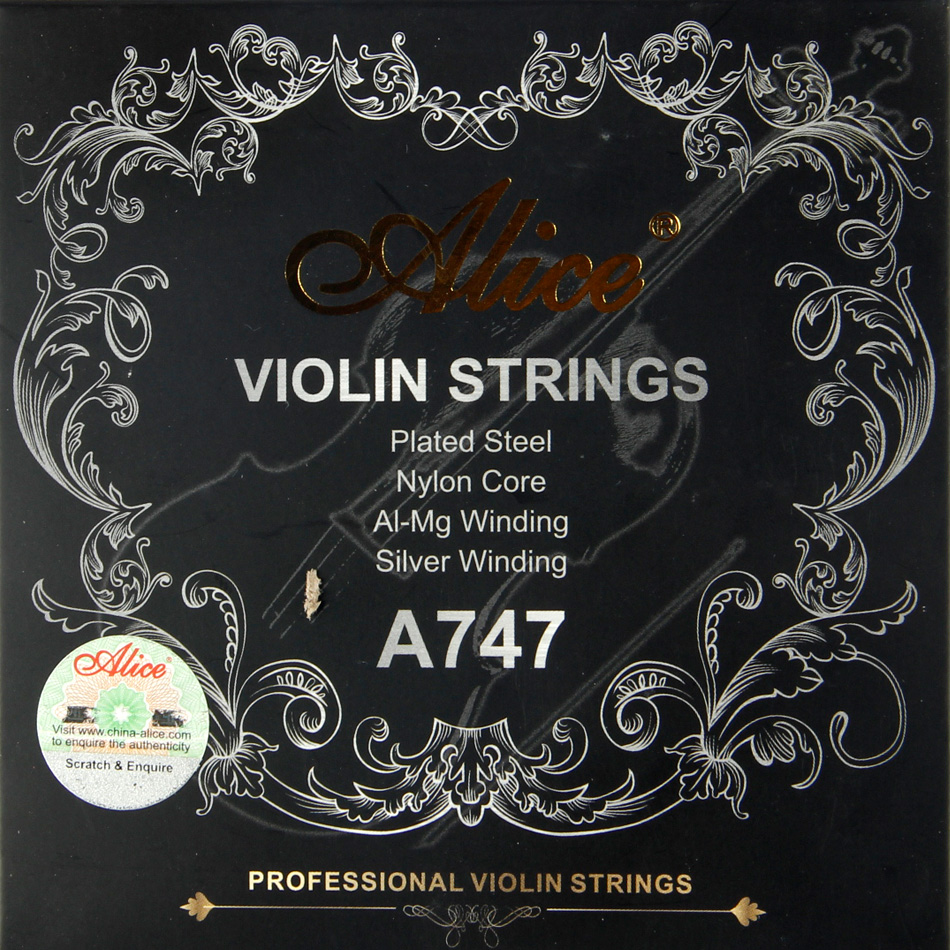 Alice Violin Strings  A747 Nickel-plated High-carbon Steel Nylon Cor Aluminum Alloy Wound Silver Wound  4pics/set