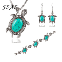 JEAE Vintage Jewelry Sets Green Tortoise Pendant Necklace Bracelet Earrings Ancient Silver Color Clothing Fashion Jewelry Women