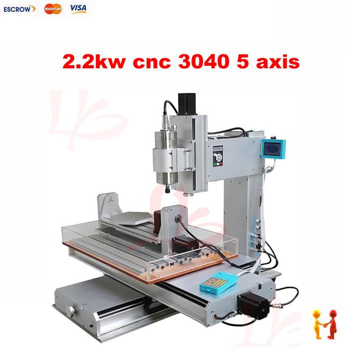 Trois dimensions 5 axes mini CNC routeur 3040 fraiseuse 2.2KW CNC machine de découpe Table à vis à billes de haute précision
