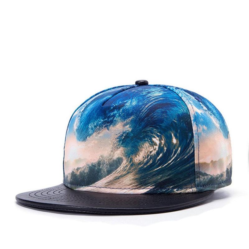 Snapback Caps Hip Hop PU Leather Visor Baseball Cap Printed Pattern Sea Wave Surf 3D Bone Planas Gorras Man Women Casual Sun Hat