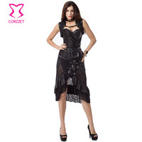 Black Jacquard Leather Overbust Corselet Corset Steampunk Jacket Skirt Gothic Clothing Corsets And Bustiers Burlesque Dress