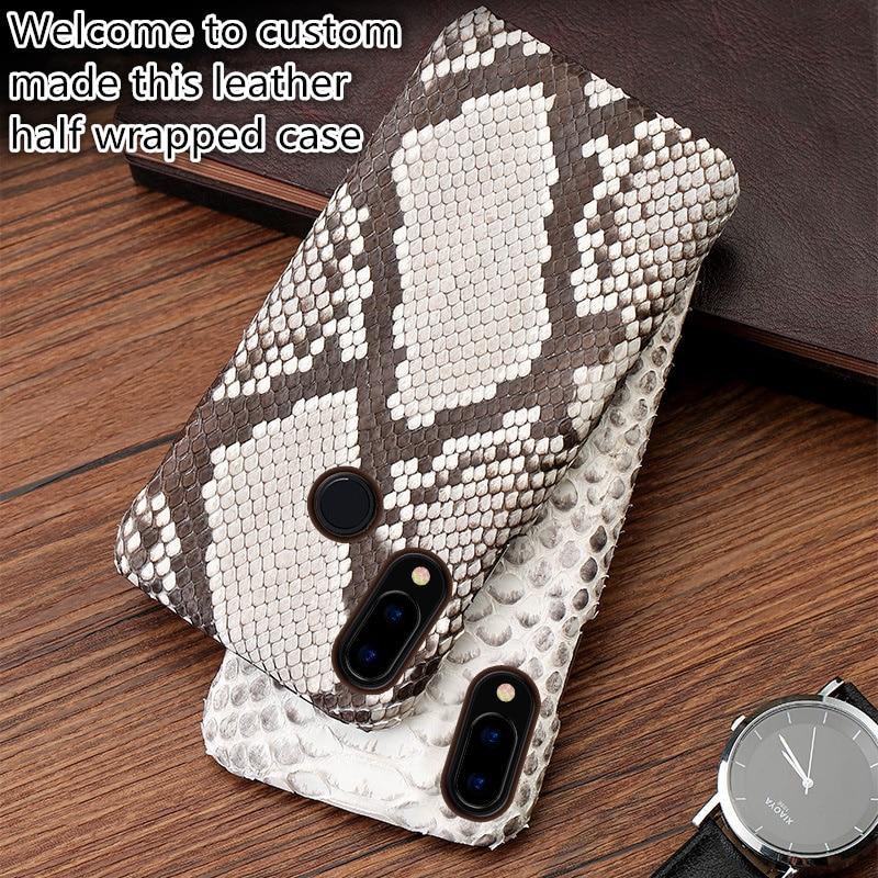 QH17 Python skin genuine leather half-wrapped case for Google Pixel 3(5.5') phone case for Google Pixel 3 cover case