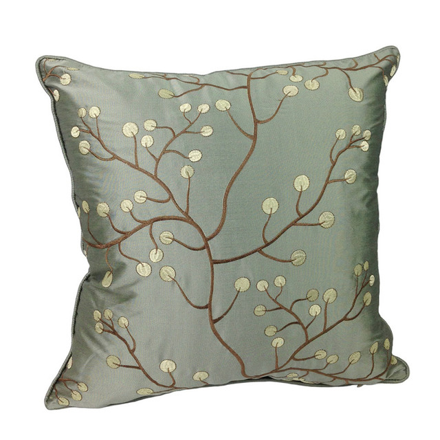 deluxe interior decorative cyan tree branch embroidery cushion cover gift designer pillow case 45x45 cm